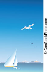 Seascape - Vertical seascape with a sail and seagulls