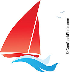 red sail boat