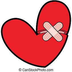 Broken Heart With Bandaid - Mending a broken heart with a...