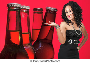 Woman and Beer - An beautiful black woman with the adult...