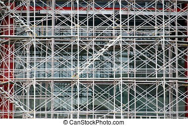 Complex Scaffold at Building Site - Intricate metal...