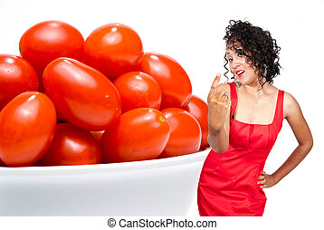 Black Woman and Cherry Tomatoes - A beautiful young black...