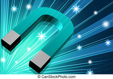 magnet - 3d rendering magnet in digital color background