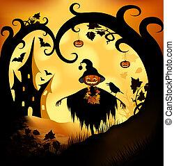 Halloween background - Halloween bitmap illustration...
