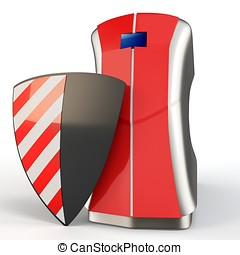 3d computer with protection shield