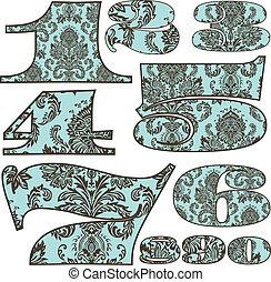 Vector Damask Pattern Number Set