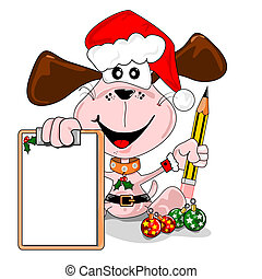 Christmas wish list - Cartoon dog with a blank Christmas...