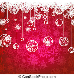 Christmas card, winter holiday EPS 8 - Beautiful red happy...