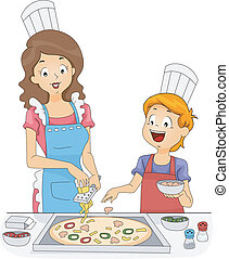 Homemade Pizza - Illustration of a Woman and a Boy Making...