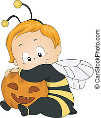 Honeybee Baby - Illustration of a Baby Dressed as a Honeybee