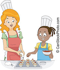 Cupcake Toppings - Illustration of a Woman and a Girl Adding...