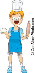 Rolling Pin - Illustration of a Kid Holding a Rolling Pin