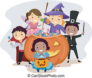 Halloween Kids - Illustration of Kids Dressed in Various...