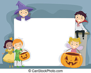 Halloween Board - Illustration of Kids Dressed in Halloween...