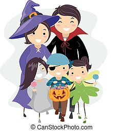 Halloween Family - Illustration of a Family Dressed in...