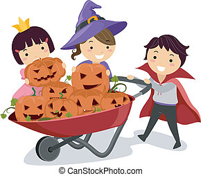Pumpkin Kids - Illustration of Kids Pushing a Wheelbarrow...