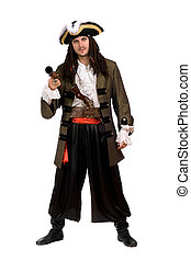 Young man in a pirate costume with pistol Isolated