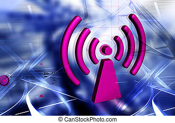 WIFI symbol - Digital illustration of WIFI symbol color...