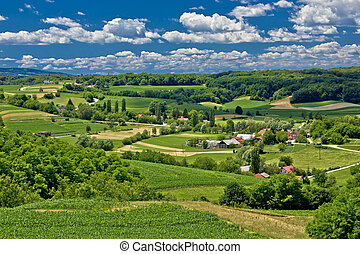 Beautiful green scenery landscape in spring time, village of...