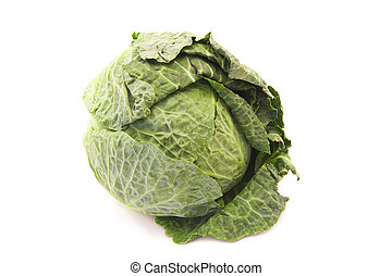 green leafy cabbage isolated on white background