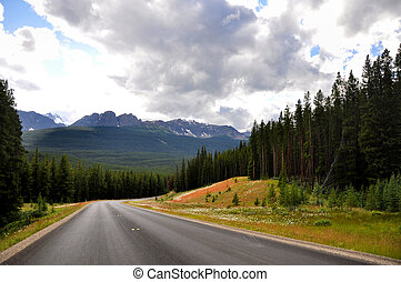 Canada Rocky Mountains - view of Banff national park along...