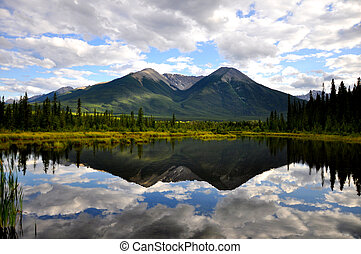 Vermillion Lake reflection - Canadian outdoor lake scenery