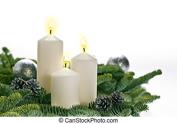 Three candles in advent setting
