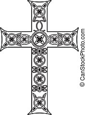 Chross - Vector black and white cross with ornaments
