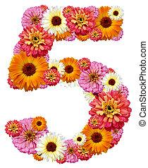 arabe, chiffre, cinq