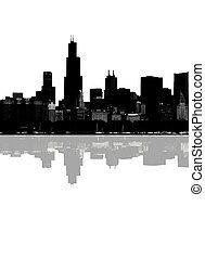 Abstract Chicago skyline - Abstract night Chicago skyline...