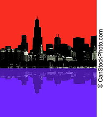 Abstract Chicago skyline - Abstract colorful night Chicago...