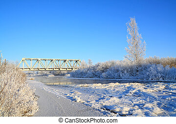 railway bridge on freeze river