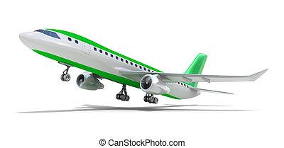 avião, sobre, branca, meu, próprio, desenho