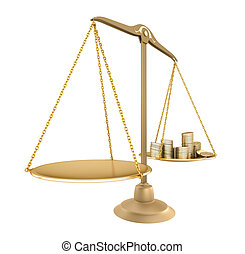 Gold balance Something equal with money, isolated