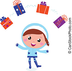 Cute winter child jugglery with christmas gifts isolated on whit