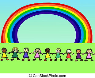 rainbow people - children holding their hands under a...