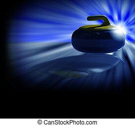 curling stone backlight blue - Illustration of a backlit...