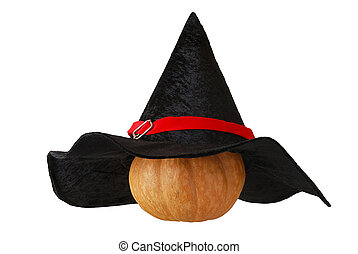 Small Halloween pumpkin in witch hat - Small Halloween...