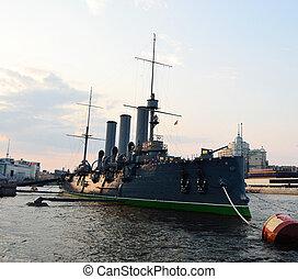 Aurora cruiser museum in StPetersburg Evening - Aurora...