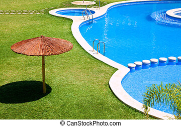 green garden with grass and swimming pool