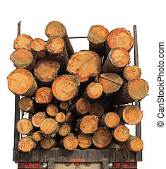 Stack Lumber Truck Wood - Rear of transport loaded with...