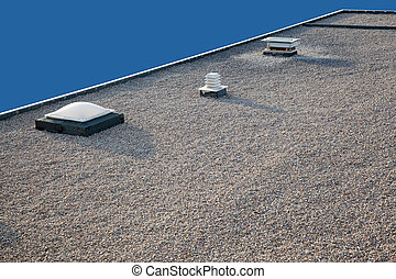 Inverted gravel roof chimney and skylight - Inverted roof...