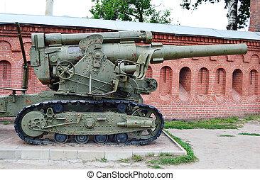 Artillery gun - Old gun in artillery museum, St.Petersburg,...