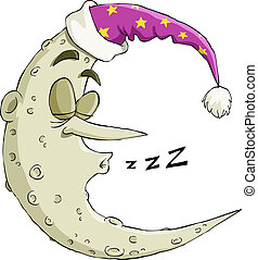 Sleeping moon - The moon on a white background, vector