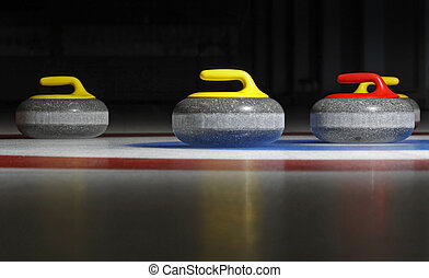 Four Curling Stones - Group of four curling stones in the...