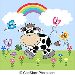 heureux, vache