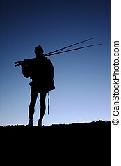 Fisherman or Angler Silhouette - Silhouette of a fisherman...