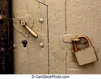 Heart-shaped lock - Old heart shaped lock and keyhole...
