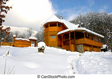 A cabana in Transylvania in winter