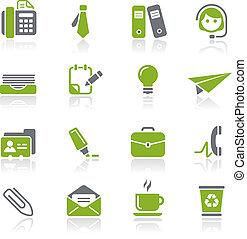 oficina, y, empresa / negocio, iconos, /, Natura